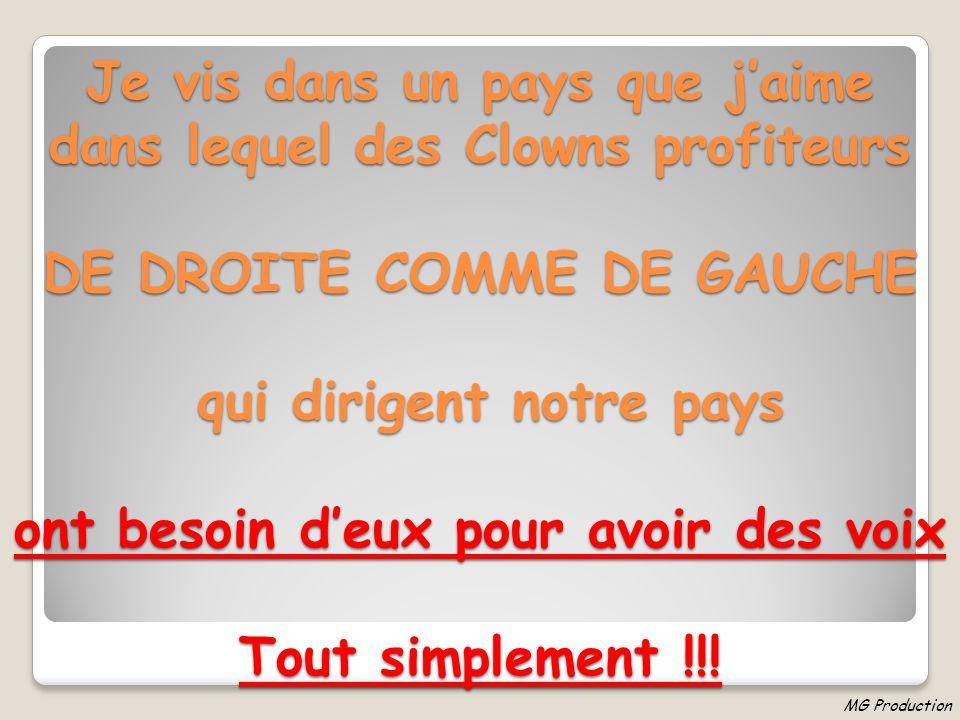 Je vis dans un pays que j'aime dans lequel des Clowns profiteurs DE DROITE COMME DE GAUCHE qui dirigent notre pays ont besoin d'eux pour avoir des voix Tout simplement !!!