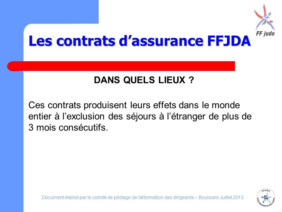 Les contrats d'assurance FFJDA