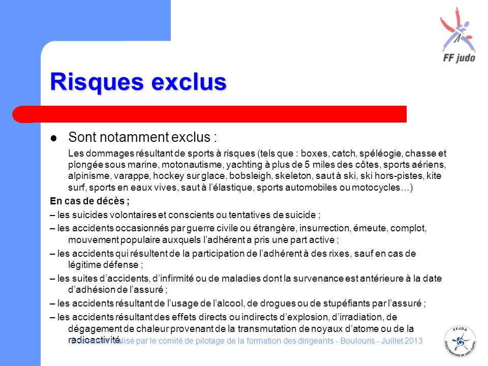 Risques exclus Sont notamment exclus : En cas de décès ;