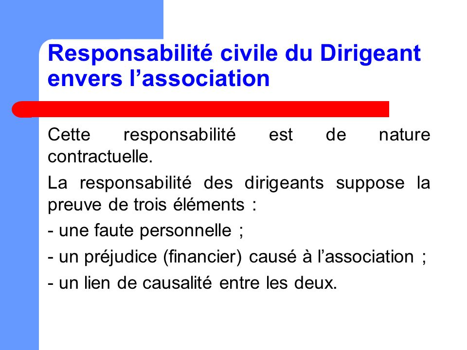 Responsabilité civile du Dirigeant envers l'association
