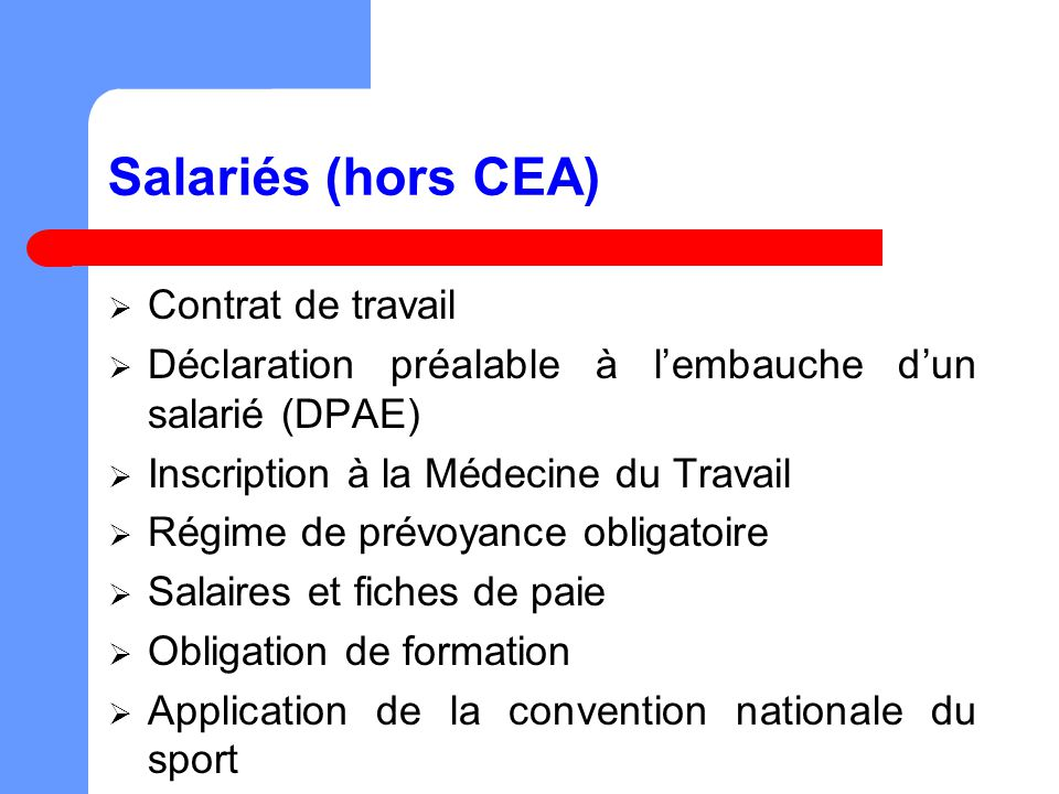 Salariés (hors CEA) Contrat de travail