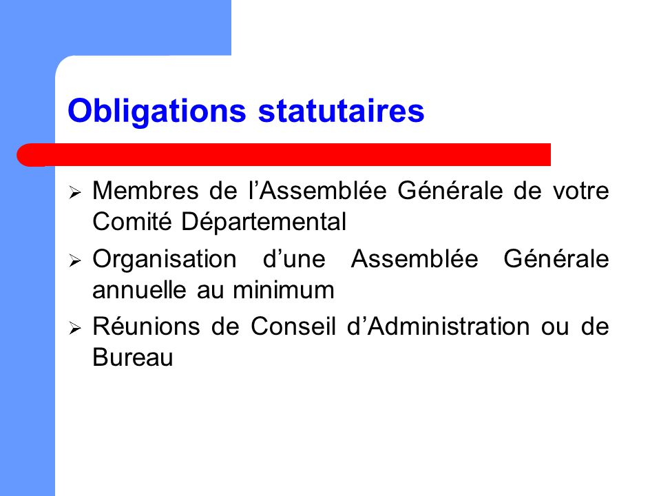 Obligations statutaires