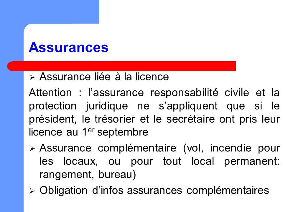 Assurances Assurance liée à la licence