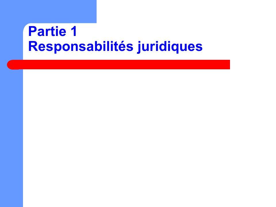 Partie 1 Responsabilités juridiques