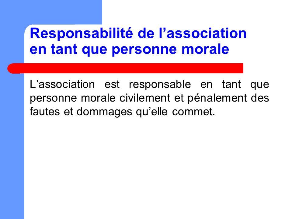 Responsabilité de l'association en tant que personne morale