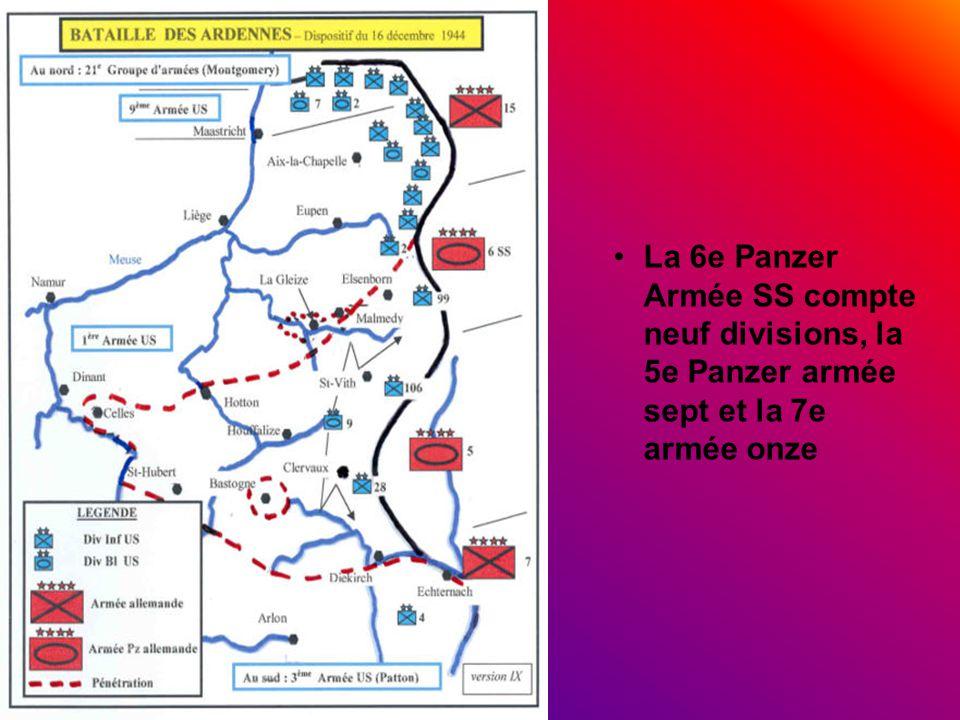 La 6e Panzer Armée SS compte neuf divisions, la 5e Panzer armée sept et la 7e armée onze