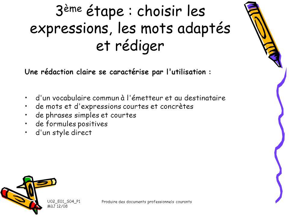 3ème étape : choisir les expressions, les mots adaptés et rédiger