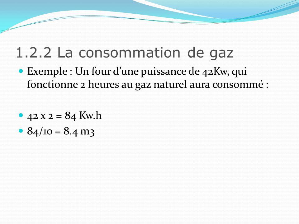 1.2.2 La consommation de gaz Exemple : Un four d'une puissance de 42Kw, qui fonctionne 2 heures au gaz naturel aura consommé :