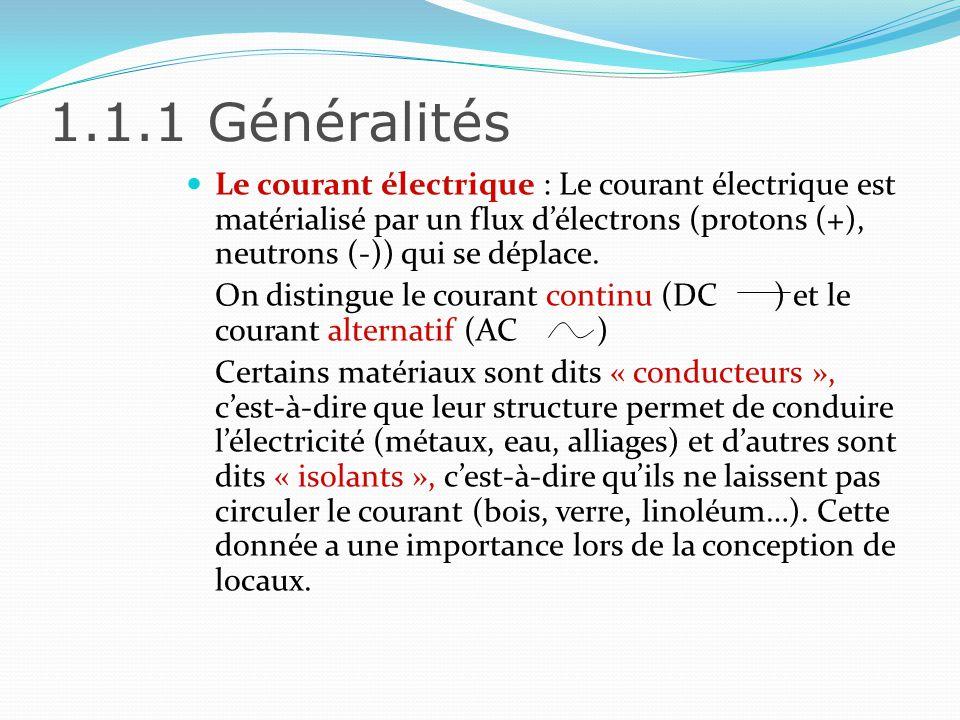 1.1.1 Généralités Le courant électrique : Le courant électrique est matérialisé par un flux d'électrons (protons (+), neutrons (-)) qui se déplace.