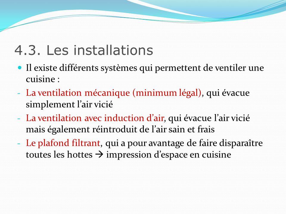4.3. Les installations Il existe différents systèmes qui permettent de ventiler une cuisine :