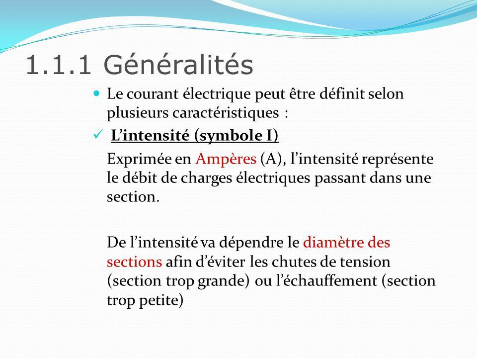 1.1.1 Généralités Le courant électrique peut être définit selon plusieurs caractéristiques : L'intensité (symbole I)