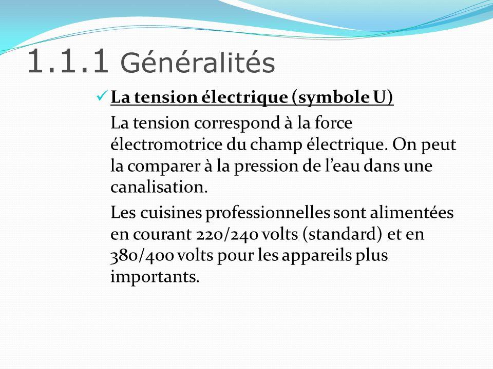 1.1.1 Généralités La tension électrique (symbole U)