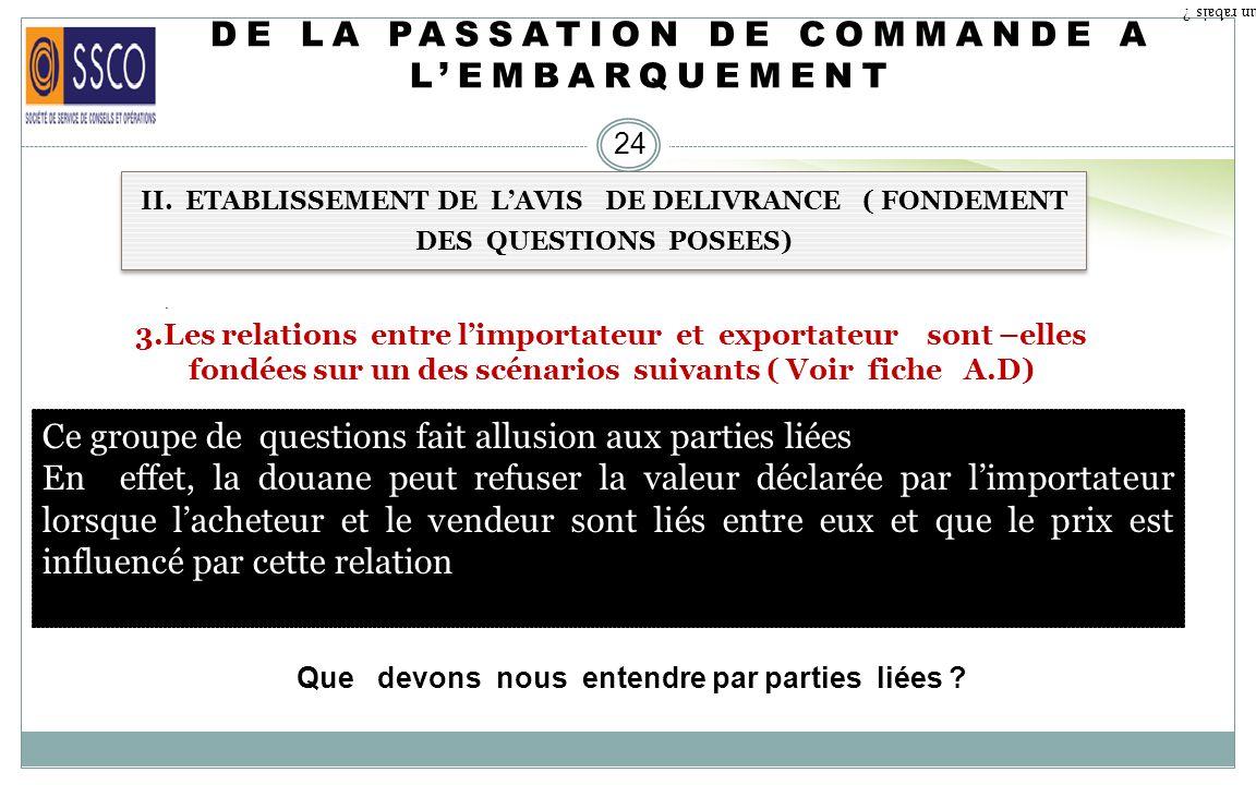 DE LA PASSATION DE COMMANDE A L'EMBARQUEMENT
