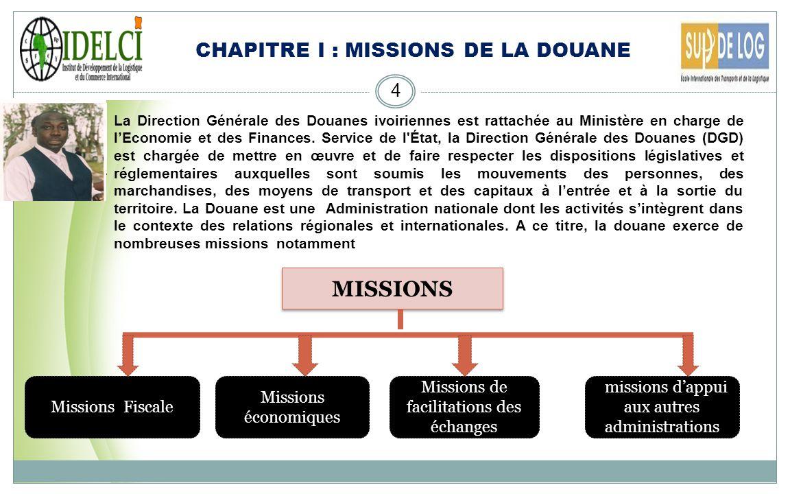 MISSIONS CHAPITRE I : MISSIONS DE LA DOUANE Missions Fiscale