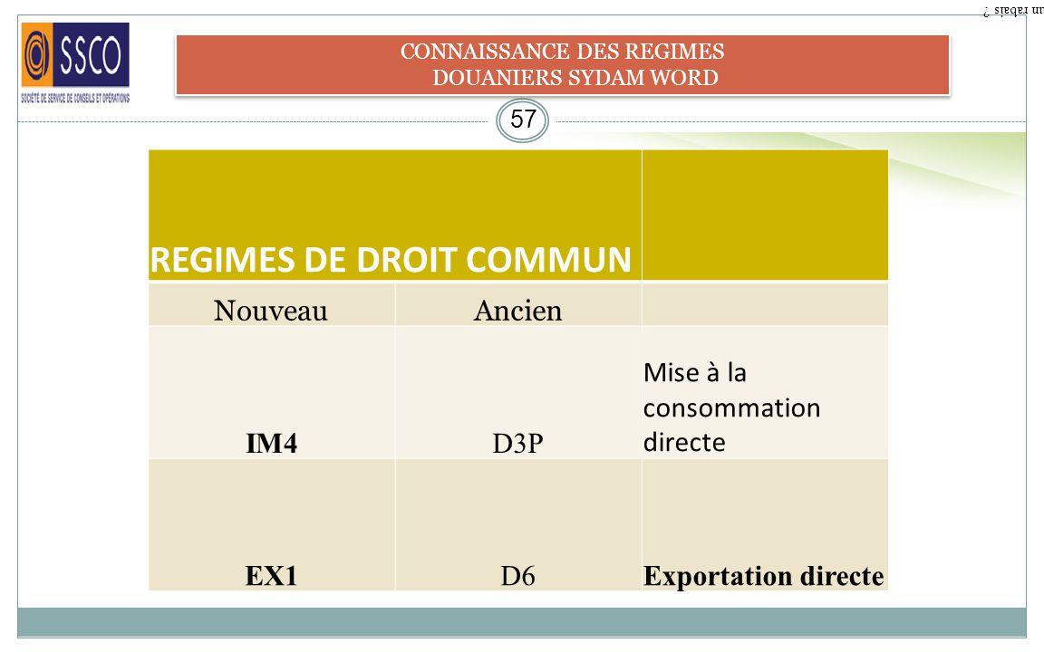 CONNAISSANCE DES REGIMES
