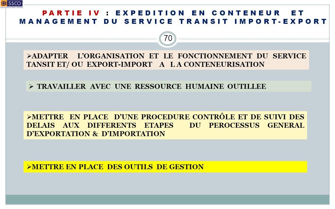 PARTIE IV : EXPEDITION EN CONTENEUR ET MANAGEMENT DU SERVICE TRANSIT IMPORT-EXPORT