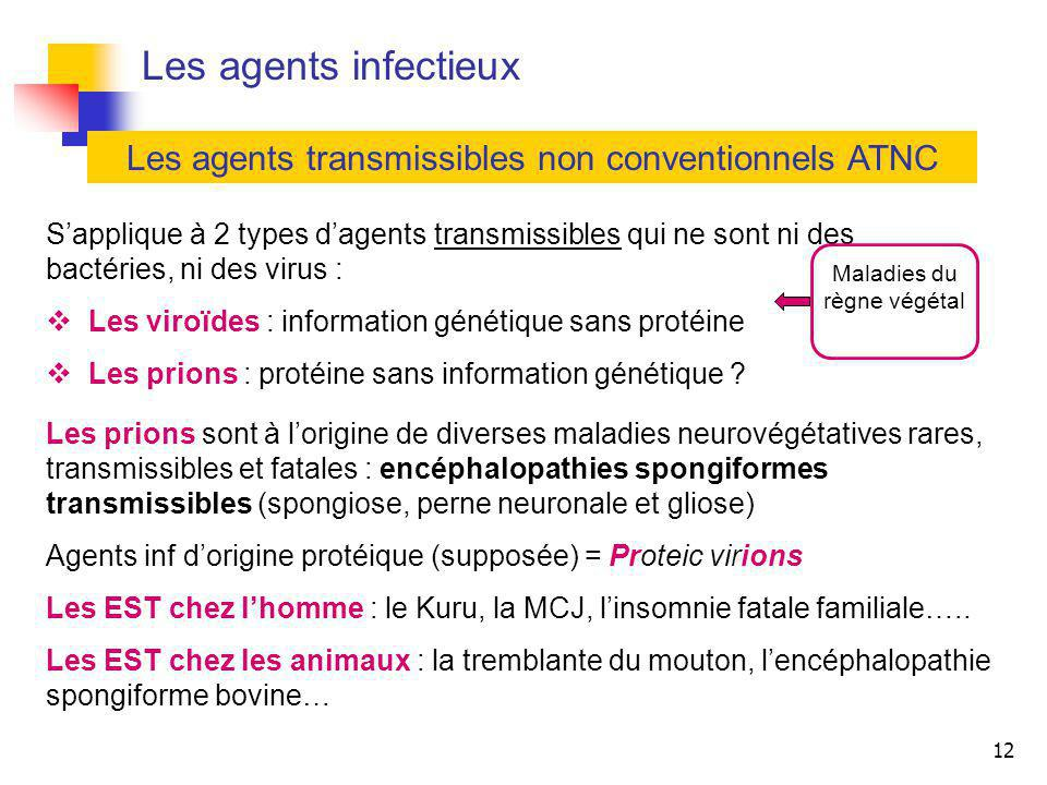 Les agents infectieux Les agents transmissibles non conventionnels ATNC.