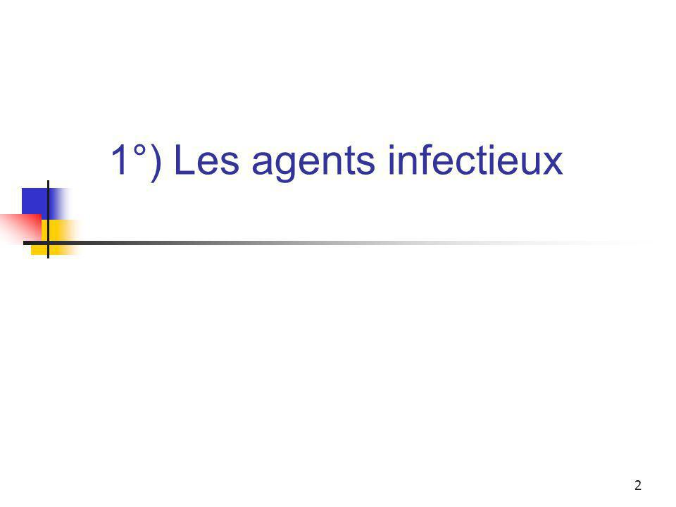 1°) Les agents infectieux