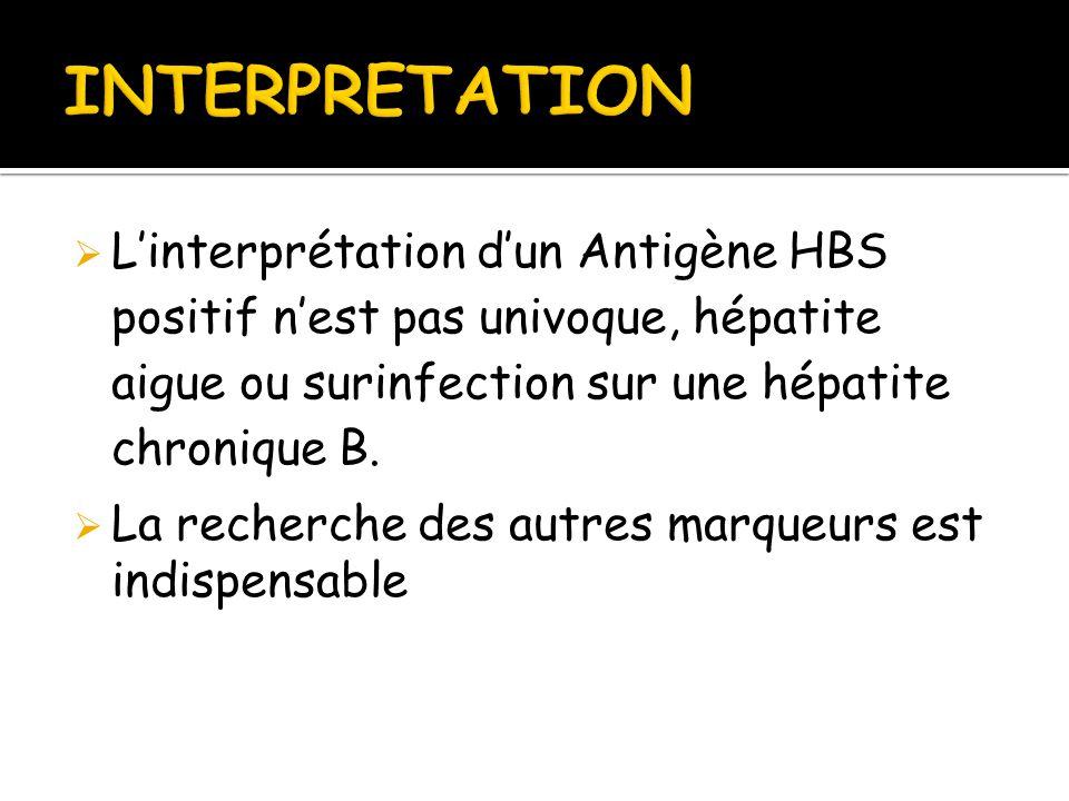 INTERPRETATION L'interprétation d'un Antigène HBS positif n'est pas univoque, hépatite aigue ou surinfection sur une hépatite chronique B.