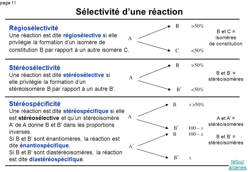 Sélectivité d'une réaction