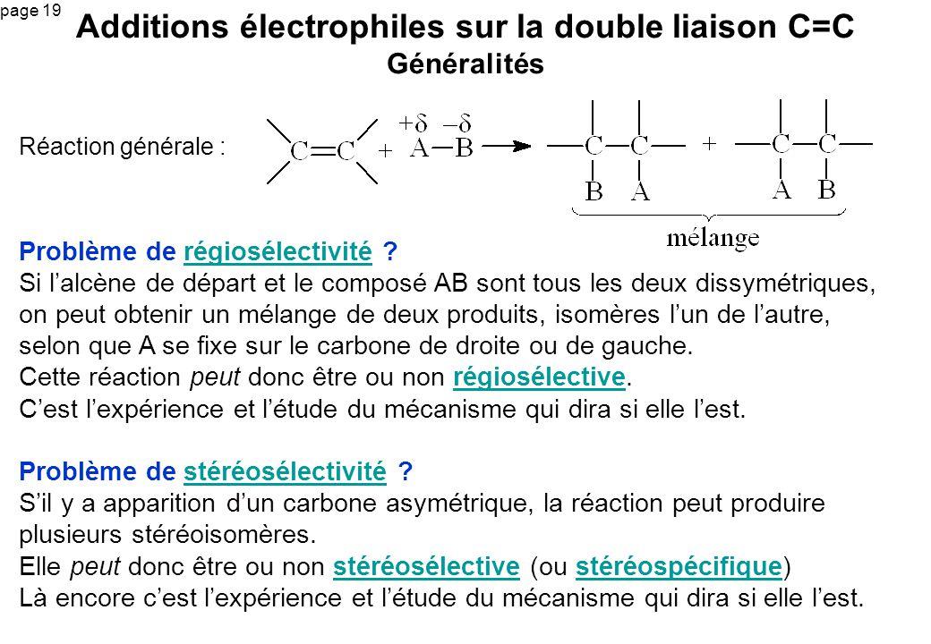 Additions électrophiles sur la double liaison C=C Généralités
