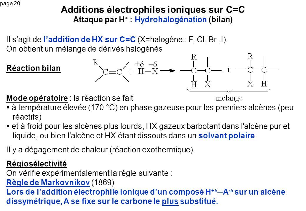 Additions électrophiles ioniques sur C=C Attaque par H+ : Hydrohalogénation (bilan)