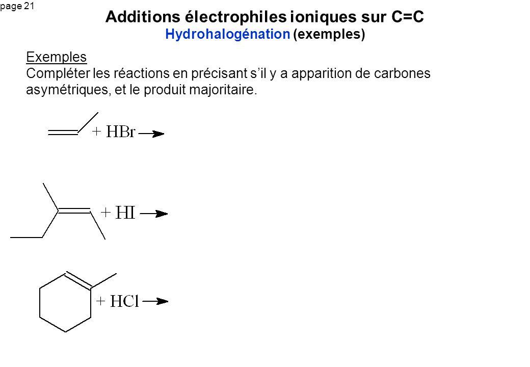 Additions électrophiles ioniques sur C=C Hydrohalogénation (exemples)