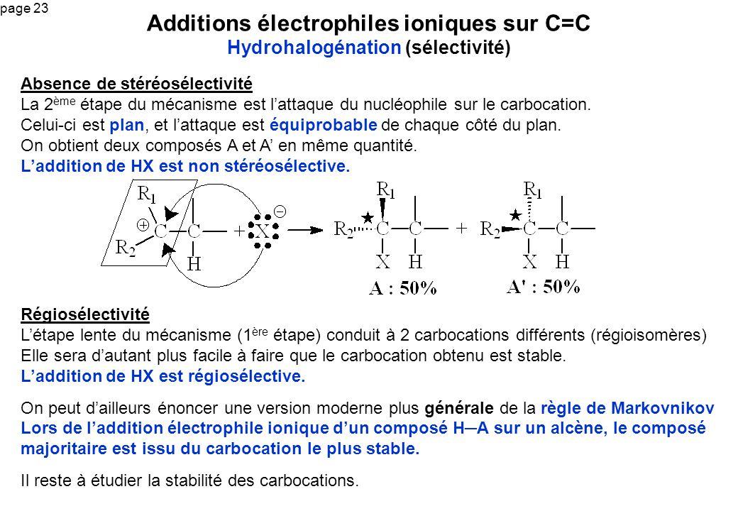 Additions électrophiles ioniques sur C=C Hydrohalogénation (sélectivité)