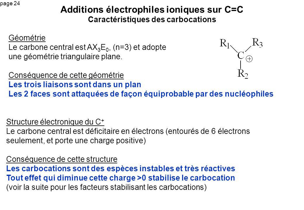Additions électrophiles ioniques sur C=C Caractéristiques des carbocations