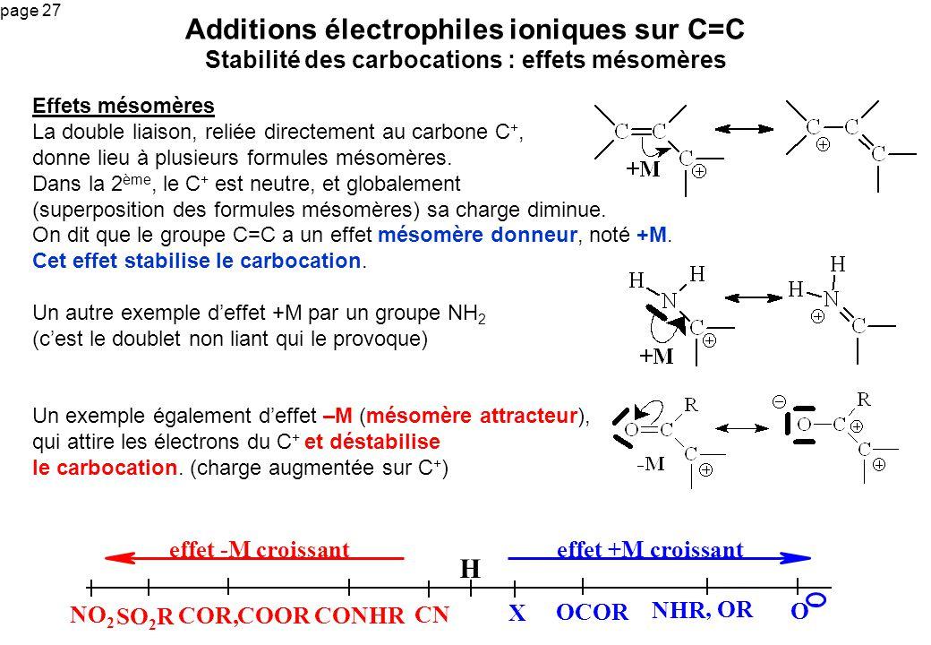 Additions électrophiles ioniques sur C=C Stabilité des carbocations : effets mésomères