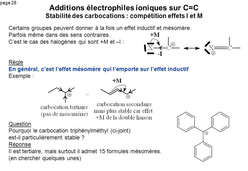 Additions électrophiles ioniques sur C=C Stabilité des carbocations : compétition effets I et M