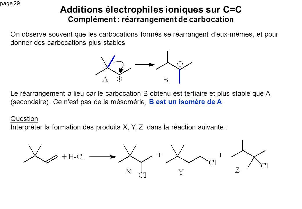 Additions électrophiles ioniques sur C=C Complément : réarrangement de carbocation