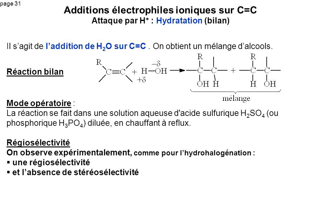 Additions électrophiles ioniques sur C=C Attaque par H+ : Hydratation (bilan)