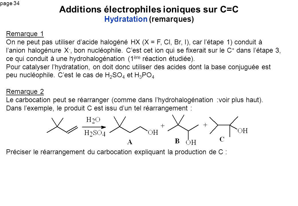 Additions électrophiles ioniques sur C=C Hydratation (remarques)