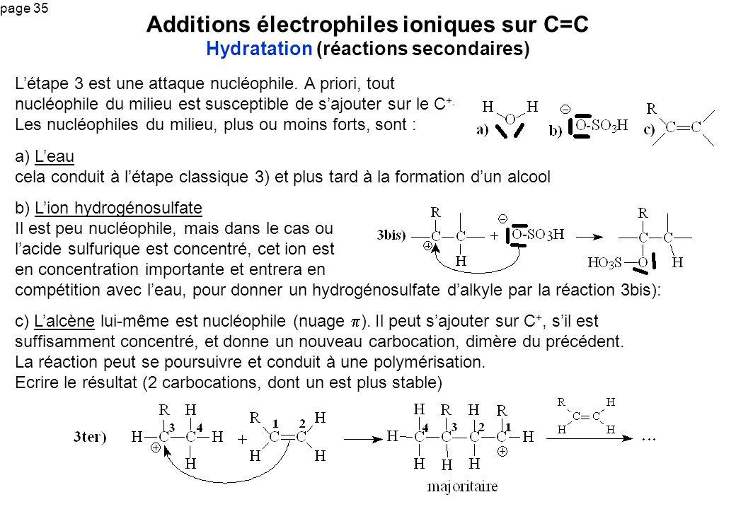 Additions électrophiles ioniques sur C=C Hydratation (réactions secondaires)