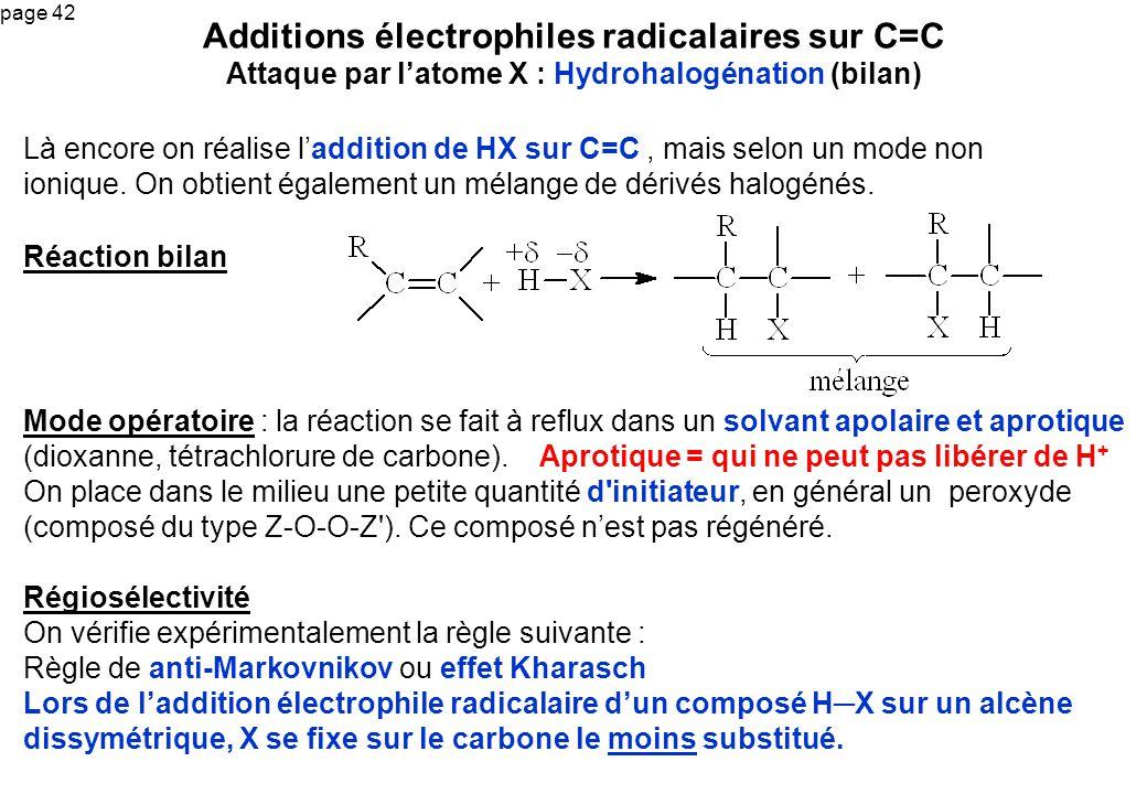 Additions électrophiles radicalaires sur C=C Attaque par l'atome X : Hydrohalogénation (bilan)