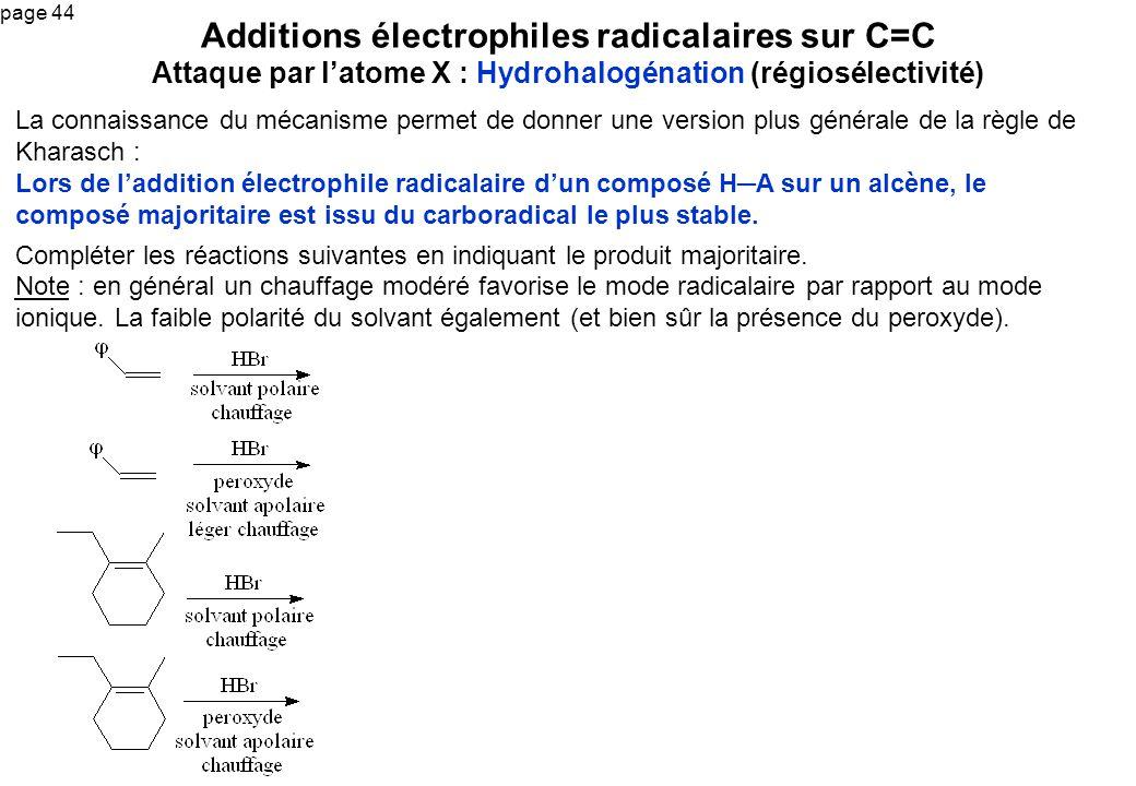 Additions électrophiles radicalaires sur C=C Attaque par l'atome X : Hydrohalogénation (régiosélectivité)