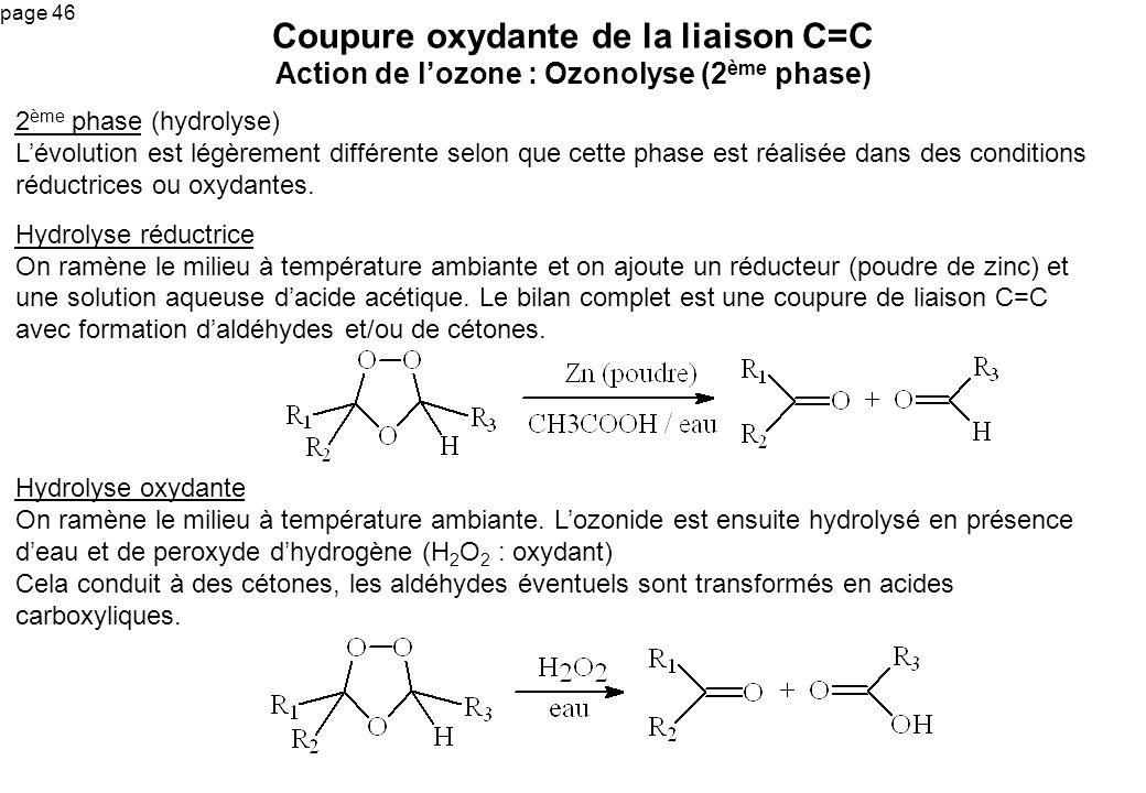 Coupure oxydante de la liaison C=C Action de l'ozone : Ozonolyse (2ème phase)