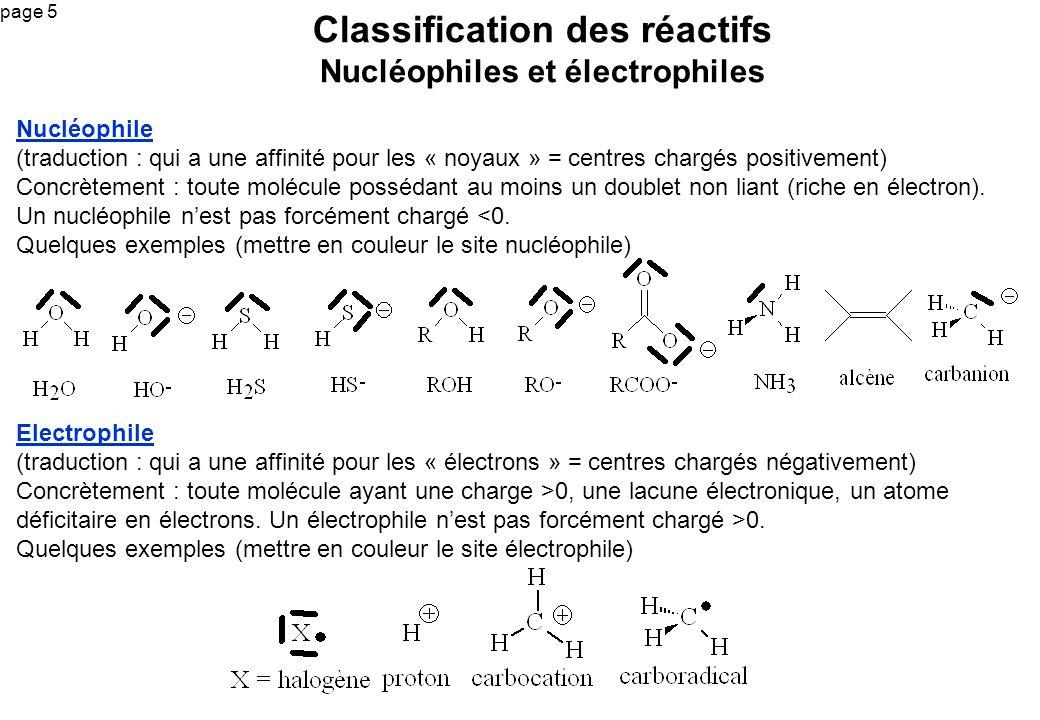Classification des réactifs Nucléophiles et électrophiles
