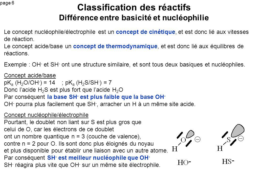 Classification des réactifs Différence entre basicité et nucléophilie
