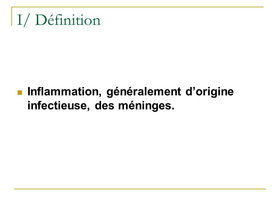 I/ Définition Inflammation, généralement d'origine infectieuse, des méninges.