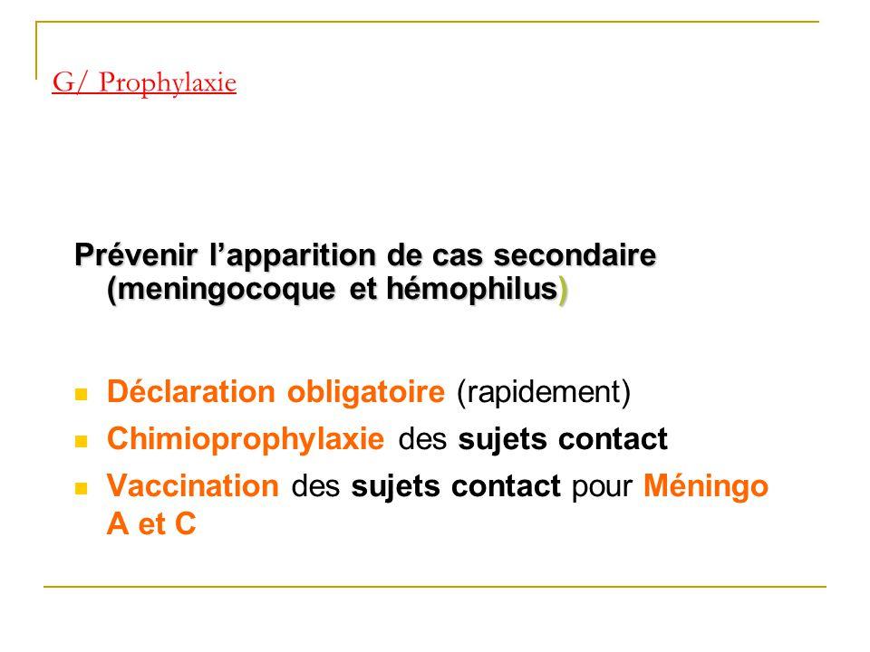 Prévenir l'apparition de cas secondaire (meningocoque et hémophilus)