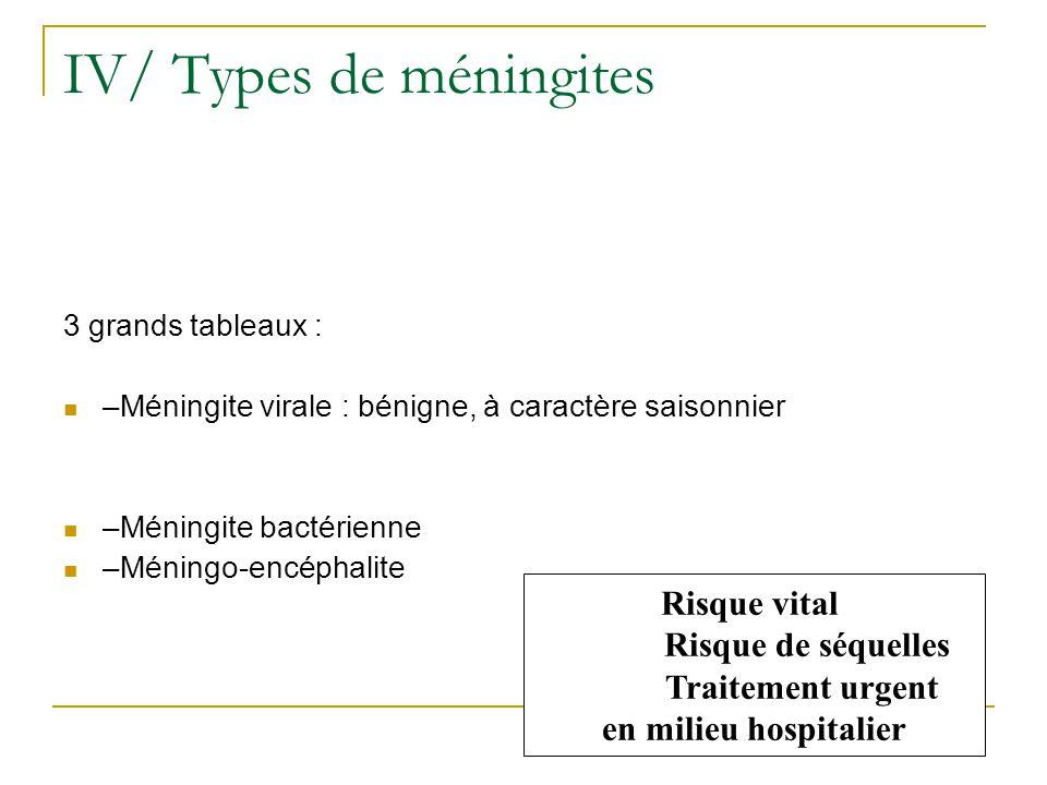IV/ Types de méningites