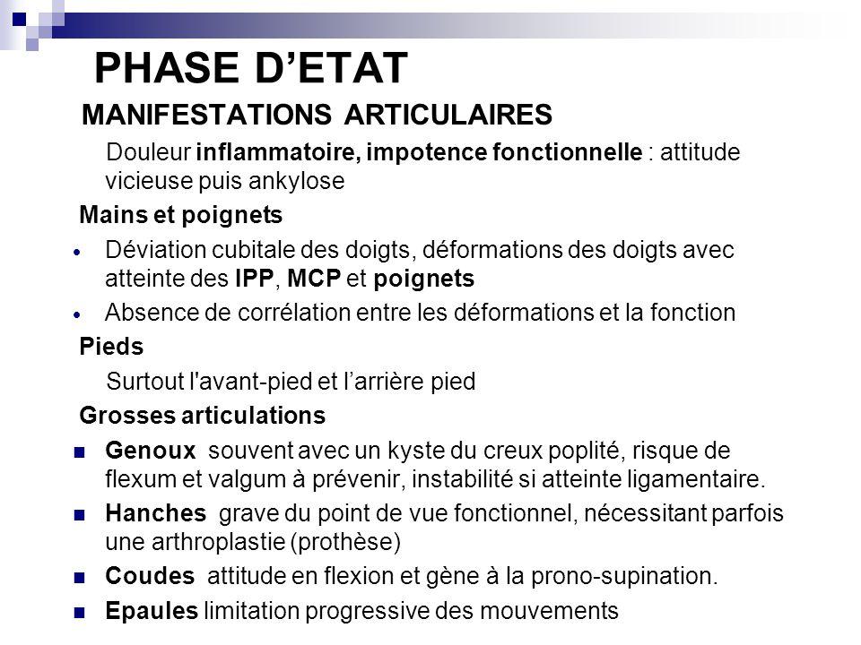 PHASE D'ETAT MANIFESTATIONS ARTICULAIRES