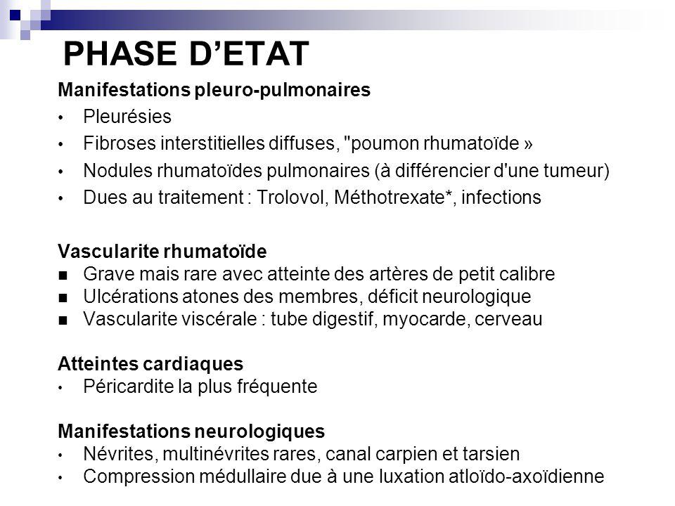 PHASE D'ETAT Manifestations pleuro-pulmonaires Pleurésies