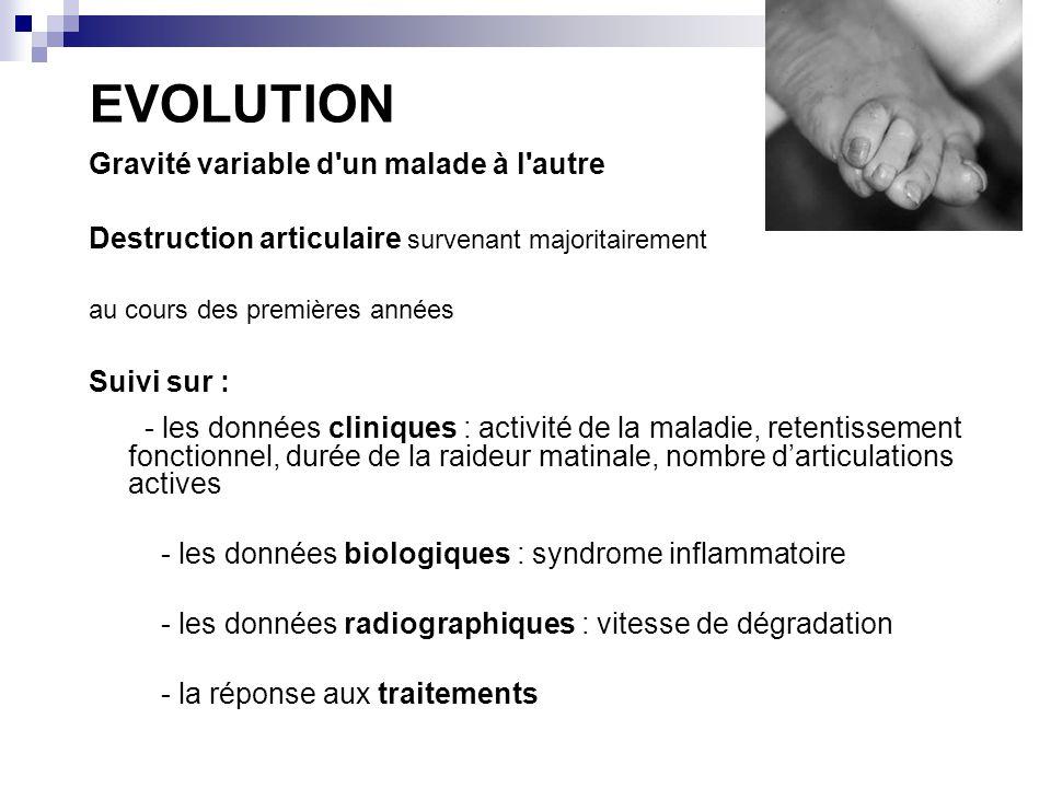 EVOLUTION Gravité variable d un malade à l autre