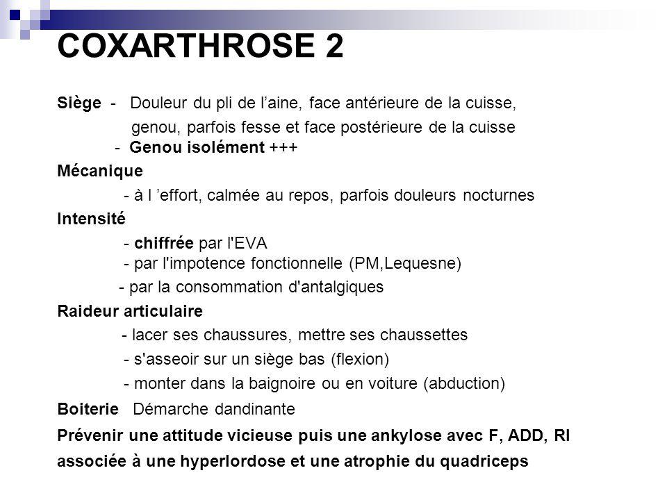 COXARTHROSE 2 Siège - Douleur du pli de l'aine, face antérieure de la cuisse,