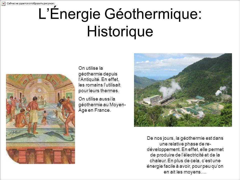 L'Énergie Géothermique: Historique