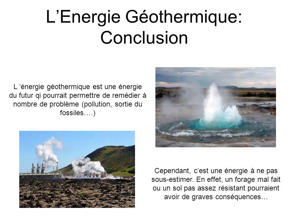 L'Energie Géothermique: Conclusion