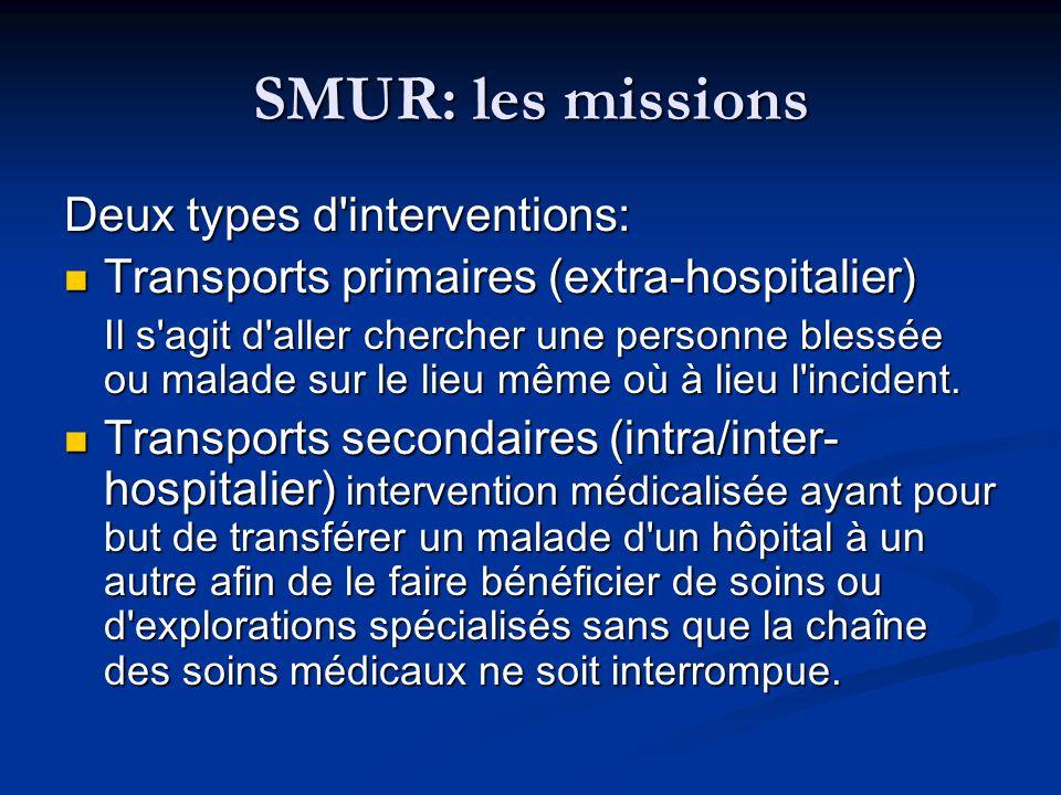 SMUR: les missions Deux types d interventions: